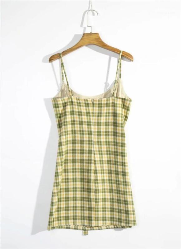 Tie Womens Designer Sommer-reizvolles Unterhemd-beiläufige Abnehmen dünne Backless kariertes Kleid Taille
