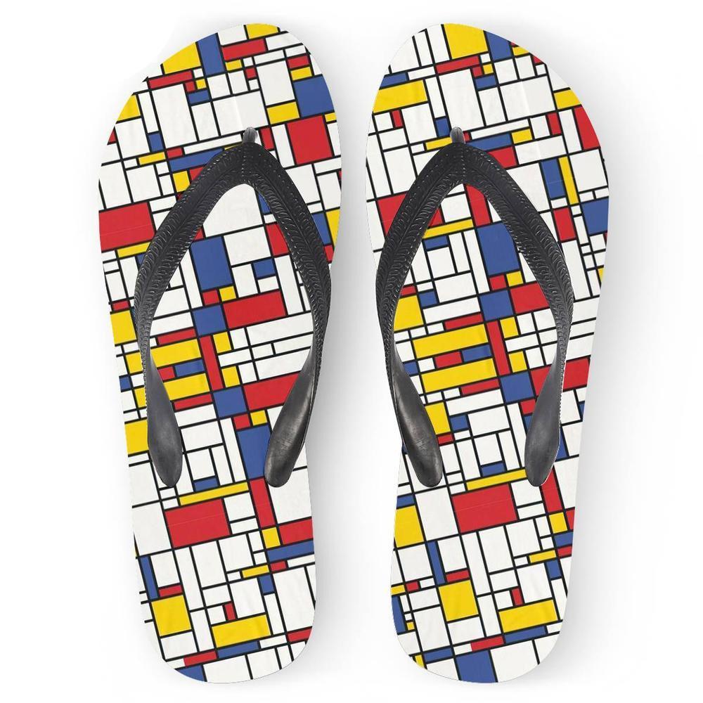 Personalizado Nuevo colorida moderna Mondrian cuadrícula 3D Impresión suave Pisos Mujeres Chancletas de playa del verano sandalias casuales Inicio Zapatillas