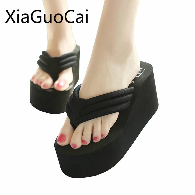 8cm High Heel Damen Hausschuhe Mode Anti-Rutsch-Female Flip Flops Damen Solid Color Strand Wedges Slippers