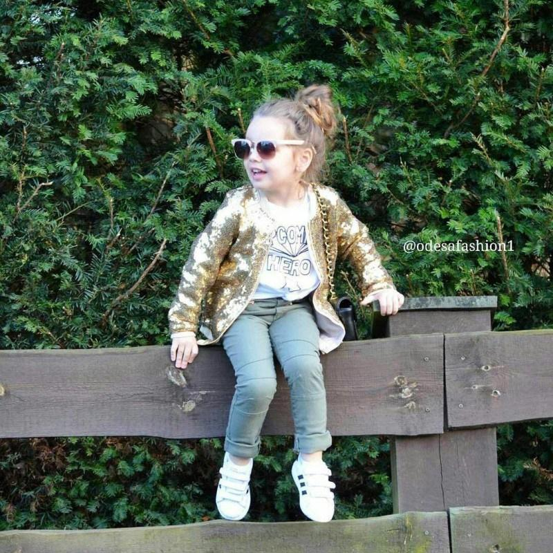 2019 New Fashion Spring Autumn Personality All-match Coat Baby Girls Casual Sequin Zipper Long Sleeve Solid Color Jacket