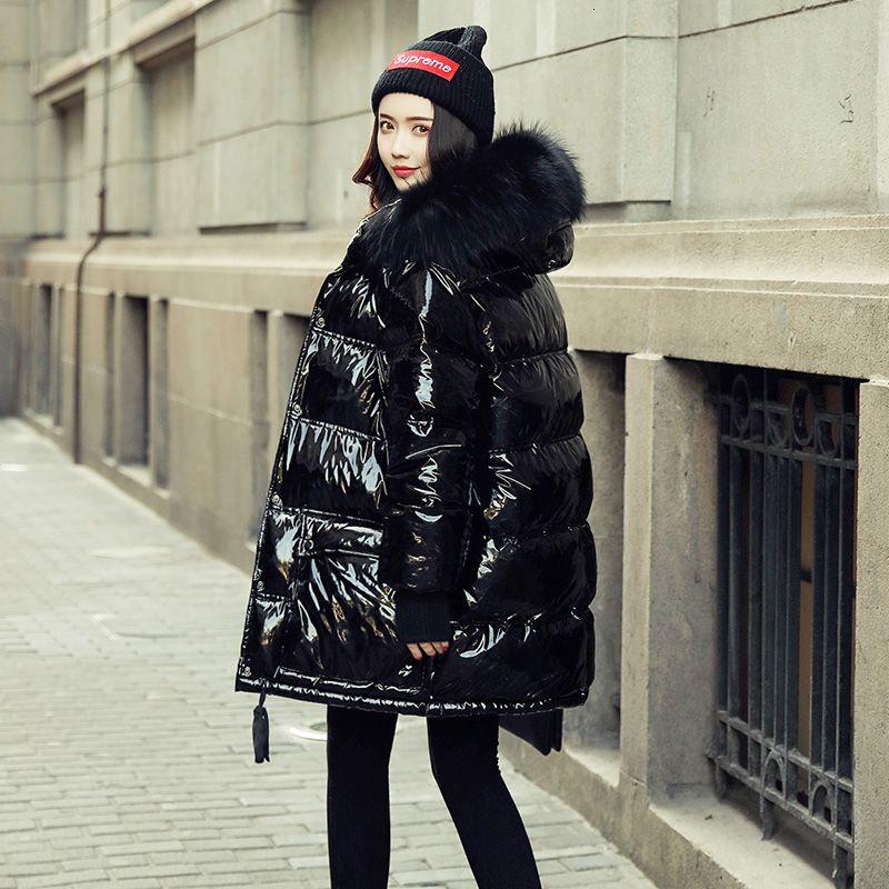 Veste hiver femme Manteau duvet de canard Parka Grand réel fourrure de raton laveur collier à capuchon en vrac brillant en cuir verni neige Porter T191125 imperméable