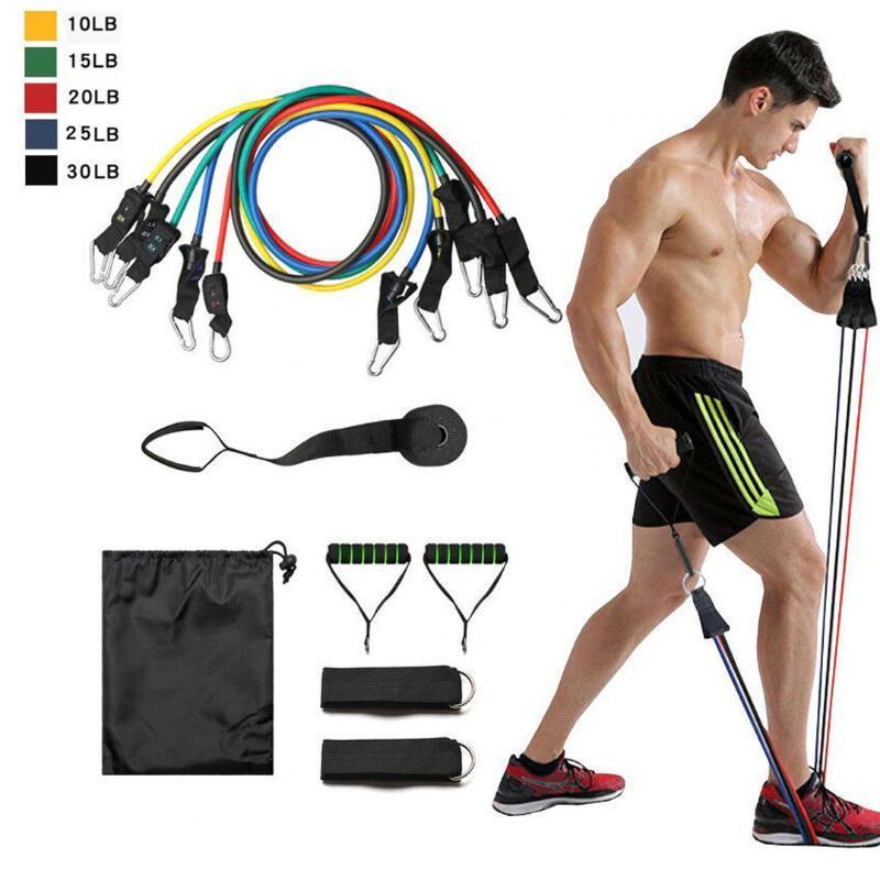 11 шт. / компл. тянуть веревку фитнес резиновый латекс фитнес сопротивление полосы упражнения эластичный пул тренировки тела тренировки йога резиновая веревка
