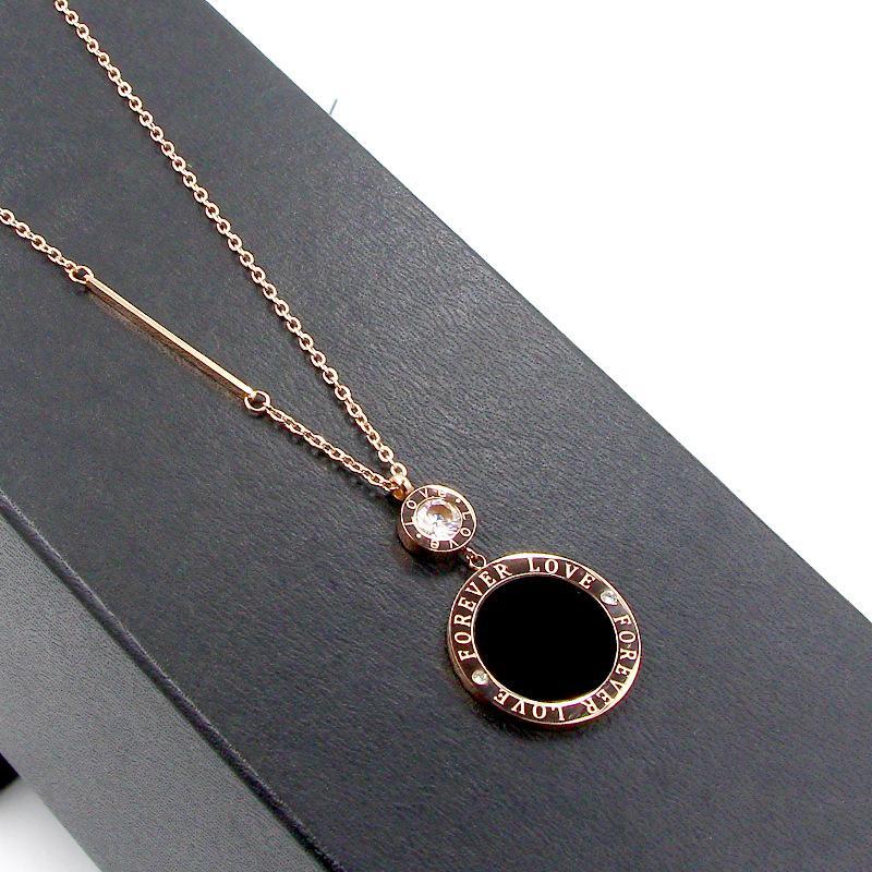 Fashion Marke Edelstahl Kristall Für immer Liebe große schwarze runde Schale Halskette Pullover Ketten Frauen-Partei-Geschenk