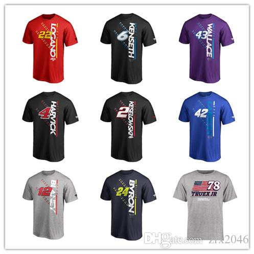 NASCAR T-Shirt Alex Bowman #24 William Byron #12 Ryan Blaney #2 Brad Keseloweski #4Kevin Harvick Black 2019 Sport short shirts printed Logos