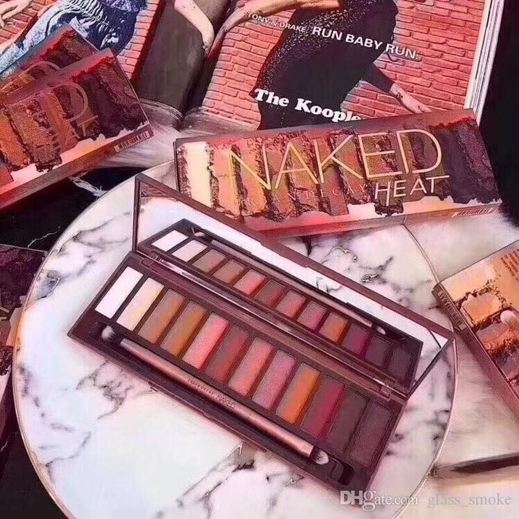 Newest Naked Heat Eyeshadow Makeup Palettes Nude Eye shadow Brand Long Lasting 12 color HEAT De cay Makeup Naked Palettes