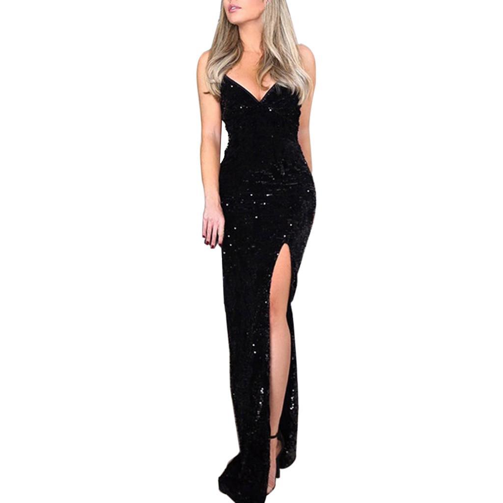 Feitong Deep V Sequins Dress Women Wrap Ruched Sleeveless Black Long Dresses Ladies Cocktail Nightclub Party Dress Vestidos 2019 Gpiwo