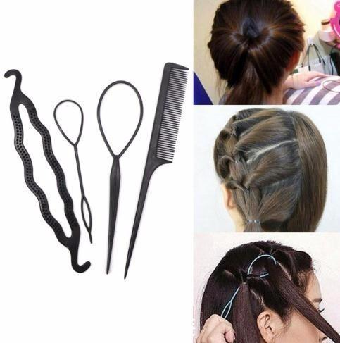 1set/4pc Hairdressing Tools Hair Twist Styling Clip Stick Bun Meatball Head Maker Comb Braiding Tools Girl Accessories