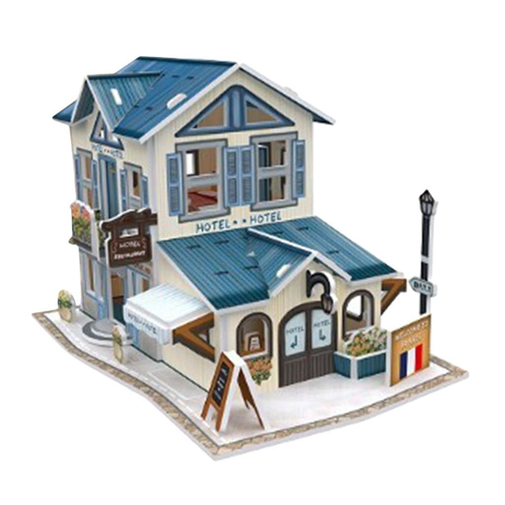 Consideravelmente Dollhouse 01:24 Escala, 3-D puzzle Play Set Architecture Series, Brinquedos Educativos para presentes do aniversário dos miúdos (Hotel)