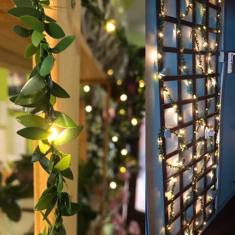 Fábrica da flor de Rosa Led de fadas corda Luzes LED ao ar livre Folhas de fadas luzes para a festa de casamento do feriado rústico Evento Garland Decor
