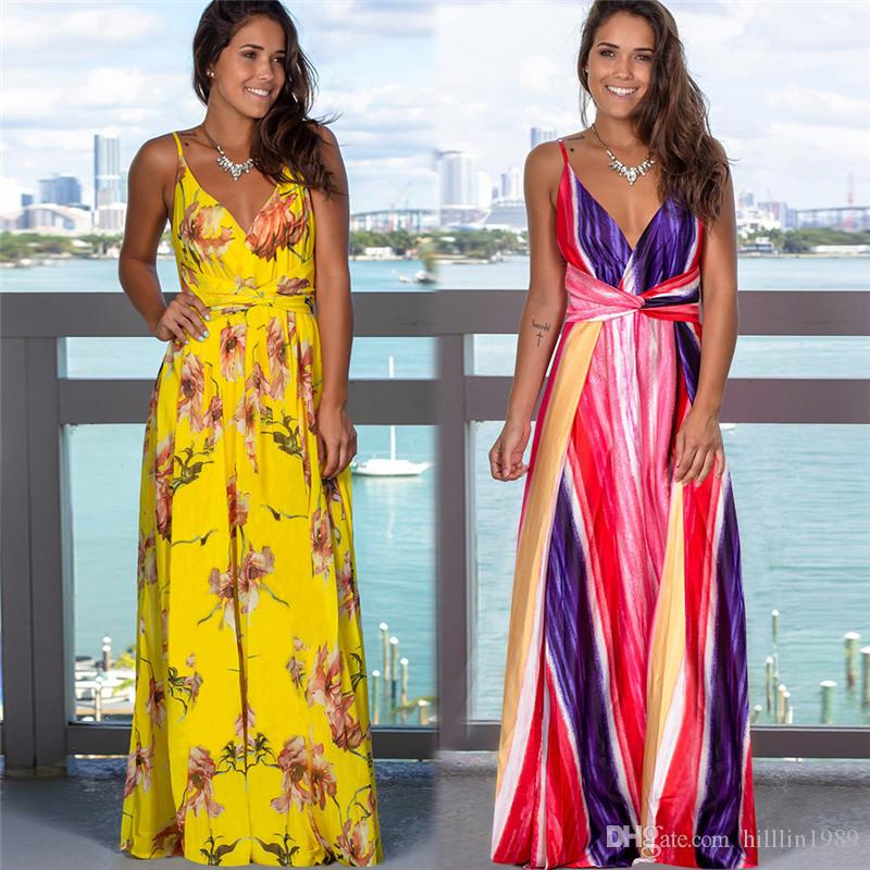 2020 Summer Trendy Clothing Female Boho Dress Sleeveless Floral Printed Casual Dresses Women Fashion Maxi Dresses