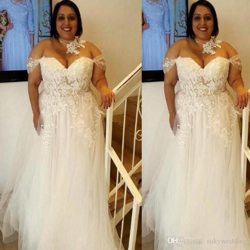Discount 2019 New Plus Size Wedding Dresses Lace Appliques Off