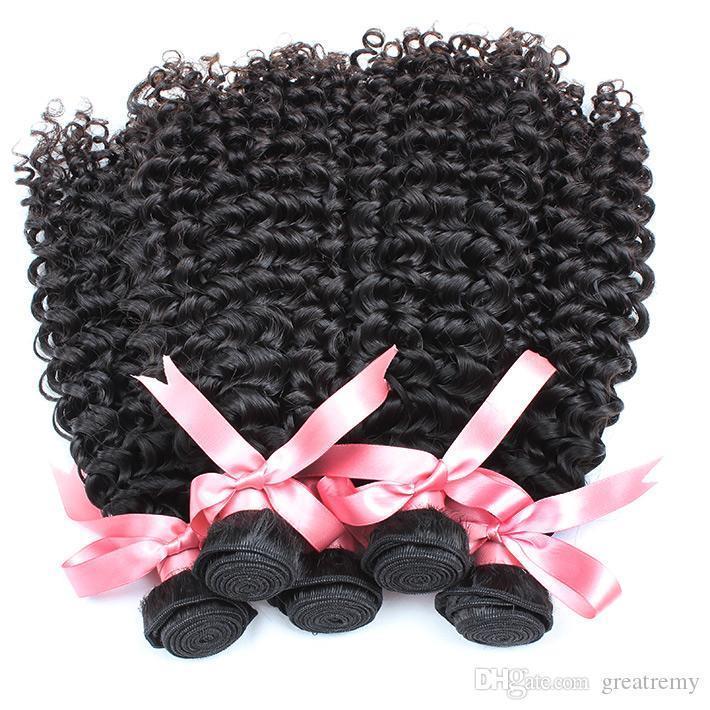 곱슬 곱슬 브라질 처녀 머리는 물결 모양의 머리 연장 10PCS 많은 greatremy 공장 빠른 운송 직조 도매 깊은 곱슬 인간의 머리를 번들