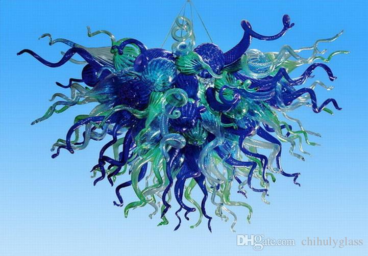 Azul e verde atacado vidro pingente luz LED Light Source Início Mão fundida de vidro italiano Dale Chihuly Estilo Chandelier