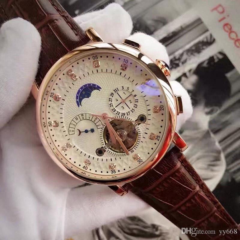 A-최고의 브랜드 명품 시계 뚜르 비옹 기계식 자동 손목 시계 남자 망 rejoles 선물 품질에 대한 일 날짜 다이아몬드 다이얼을 시계