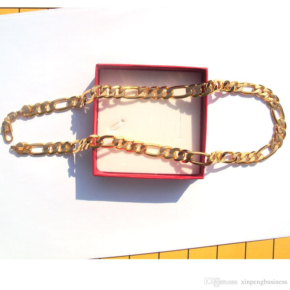 """رجل قلادة ختم 18 كيلو الصلبة الذهب النهاية قسط الجودة فيجارو رابط غرامة سلسلة 24 """""""