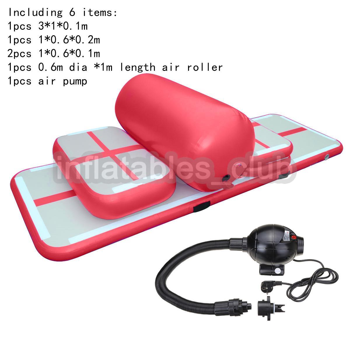 Frete grátis porta a porta Um Set (6 Pieces) inflável Gym Airtrack Tumbling Yoga Mat Air Trampolim Pista Para Crianças