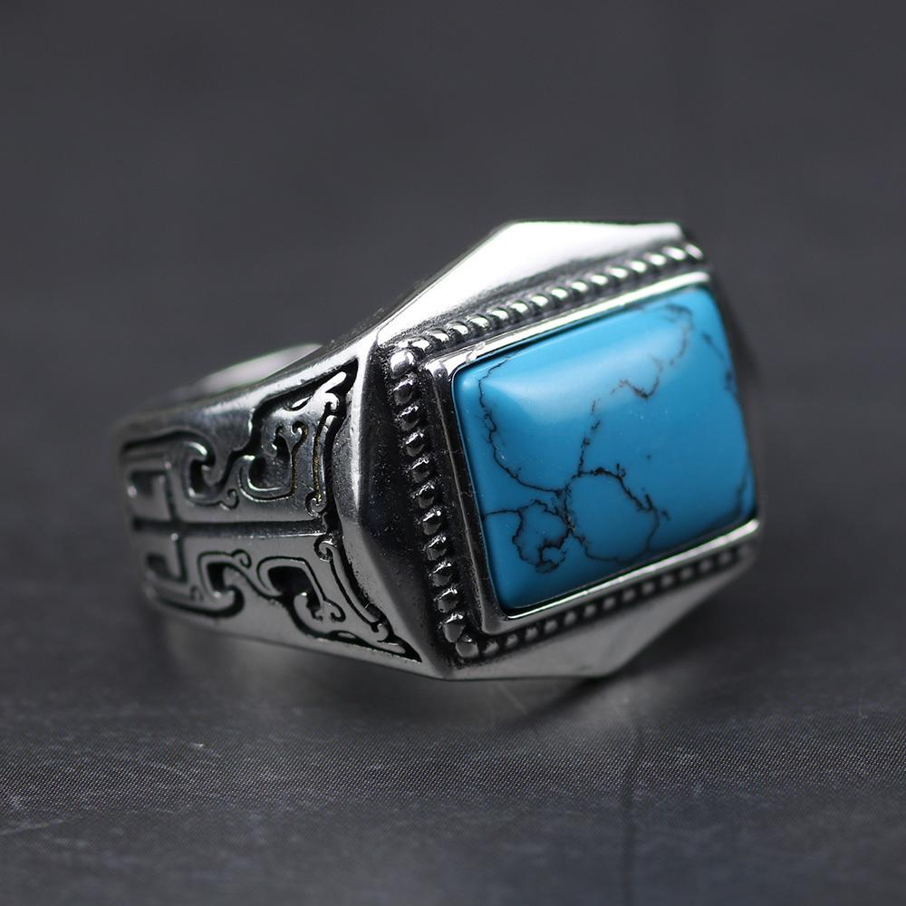 Оригинальные 925 серебряные кольца Sterling для мужчин инкрустированные Природный камень Мужские кольца Polygon Vintage Design Регулируемое ювелирных изделий Y19062004 Турции