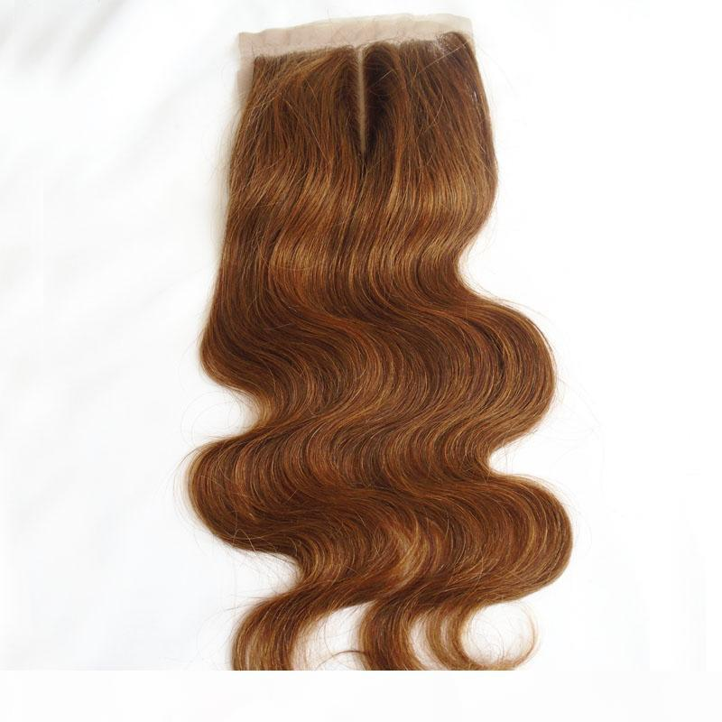 4*4 Raw Indian Virgin Hair Silk Closure Cheap #4 Light Brown Body Wave Human Hair Silk Base Lace Closure Hidden Knots