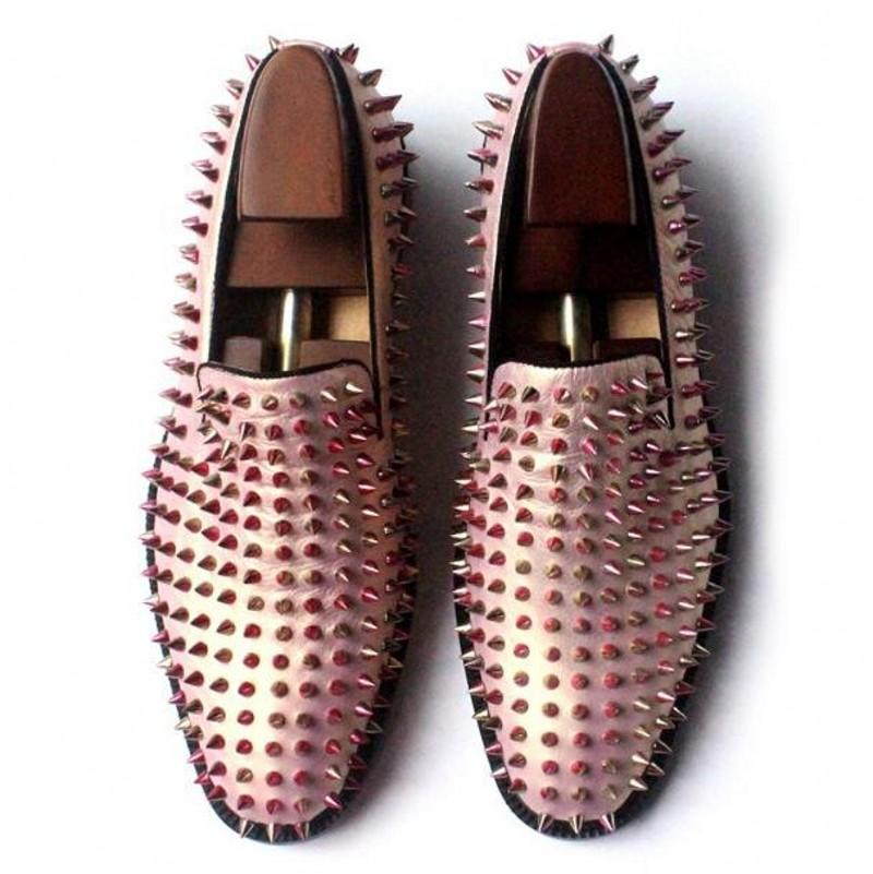 Hot Sale Rose Gold Loafers Spiked