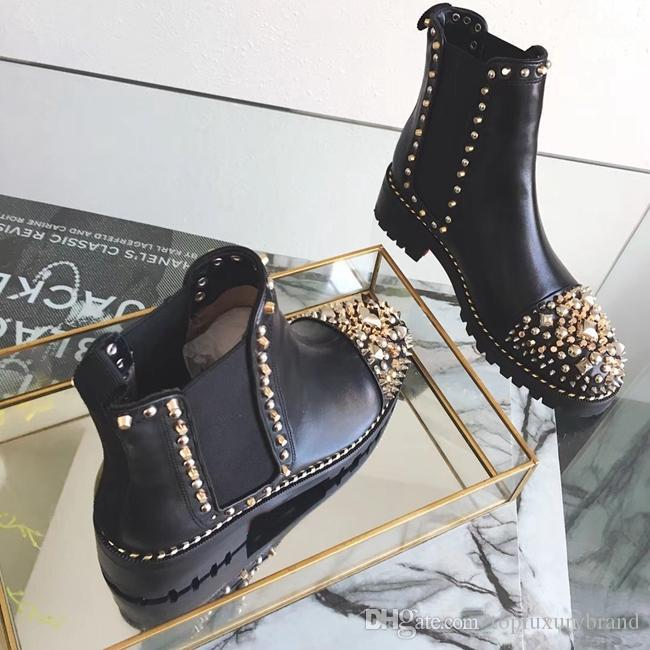Women Ankle Booties Winter Fashion Women Sexy spikes Flat Boots Red Bottom shoe Black Genuine Leather metal Casual design boots Size 35-43