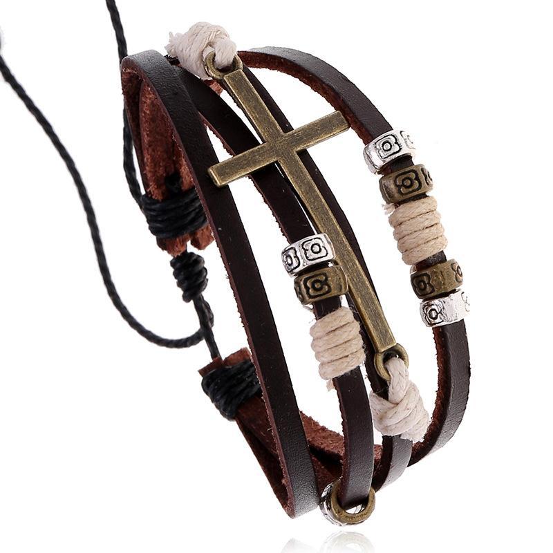 Tennis Vintage Geflochtene Leder Legierung Kreuz Armband Männer Charme Einstellbar für Homme Punk Schmuck Handgemachte Multilayer Armband