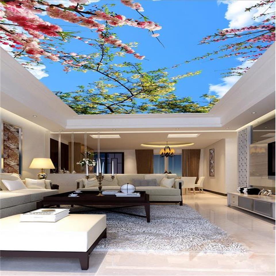 tamaño personalizado papel tapiz fotográfico 3d sala de techo sala de estar mural cielo azul nube blanca flor 3d imagen murales papel tapiz no tejido pegatina