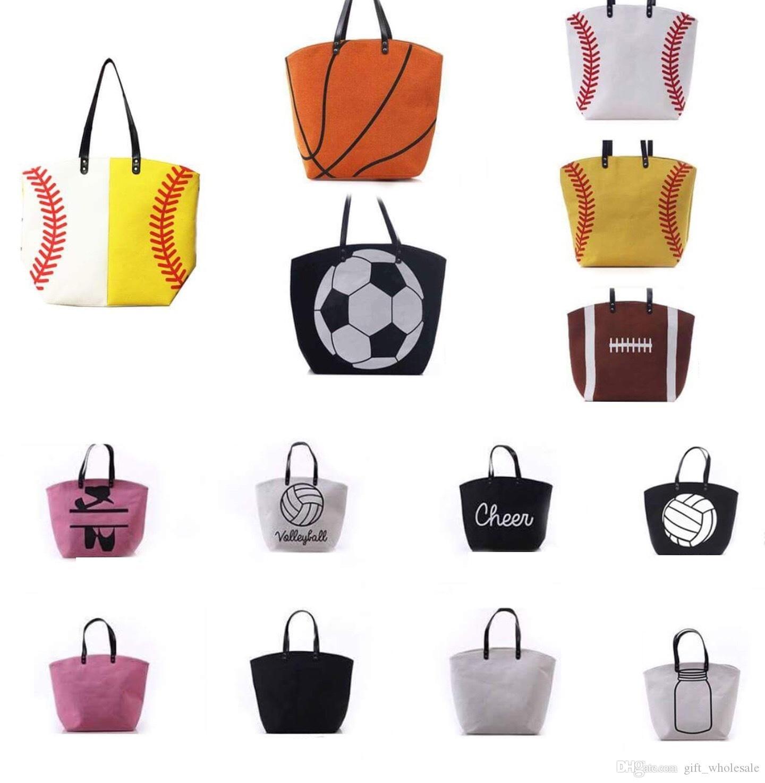 21 estilos New lienzo bolsa de béisbol bolso de béisbol bolsas deportivas moda bolsa de softball fútbol fútbol baloncesto de baloncesto lienzo bolso de asas