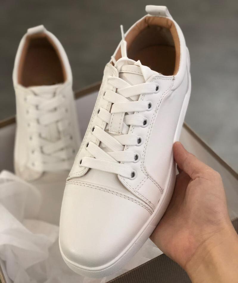 La marca de lujo del cuero genuino Blanco Negro Hombre Formadores inferior rojo de la zapatilla de deporte de pisos para los hombres, las mujeres que caminan ocasionales otoño partido boda del invierno