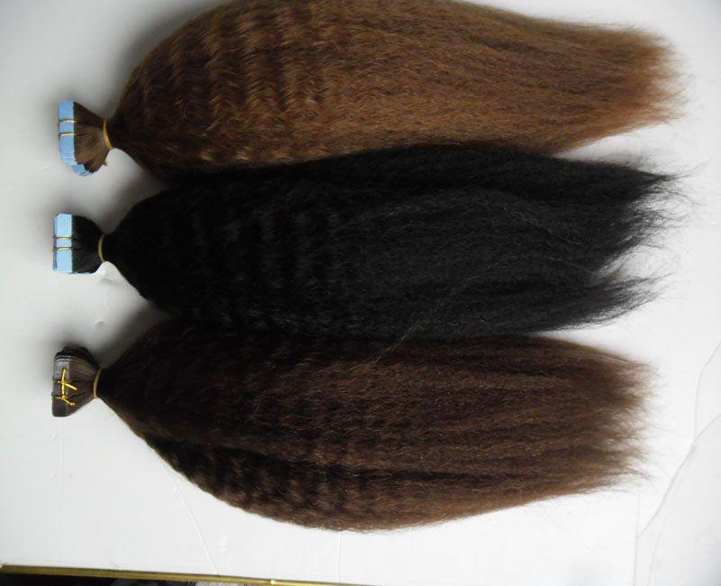 Tape Em Extensões de cabelo humano Kinky reta 40pcs grosso yaki Invisible Strong Fitas adesivas Máquina Pure Color extensões de cabelo Remy
