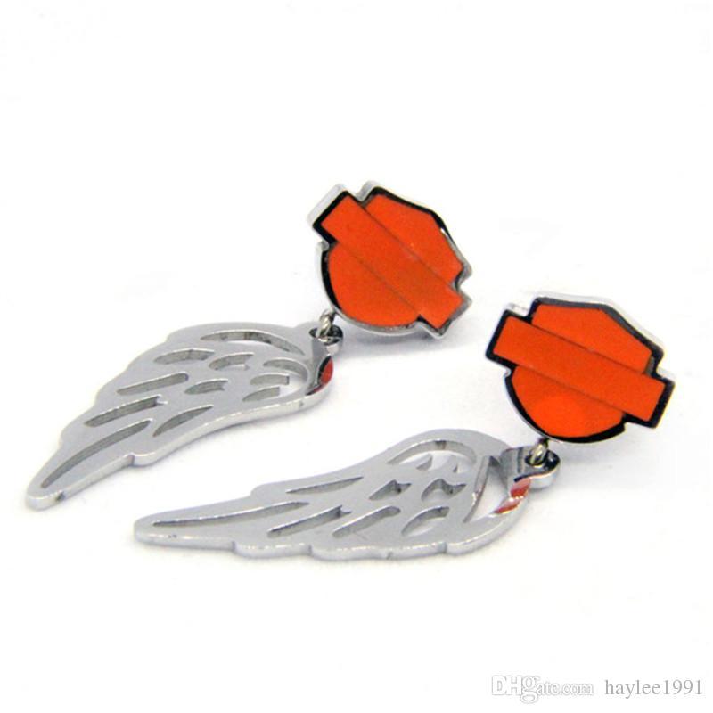 3쌍는 / 많은 도매 바이커 스타일의 각도 날개 귀걸이 스테인레스 스틸 패션 쥬얼리 오렌지 블랙 motorbiker 귀걸이 316L