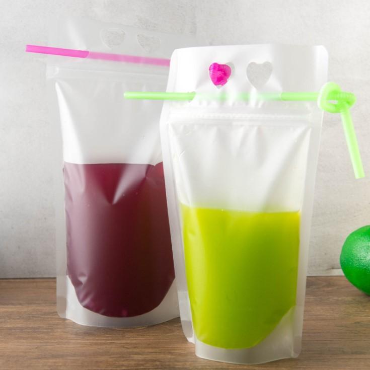Bolsas de suco de bebida líquida cozinha vertical palha saco de café saco de bebida clara festa com zíper selagem mesa de mesa mcvfw