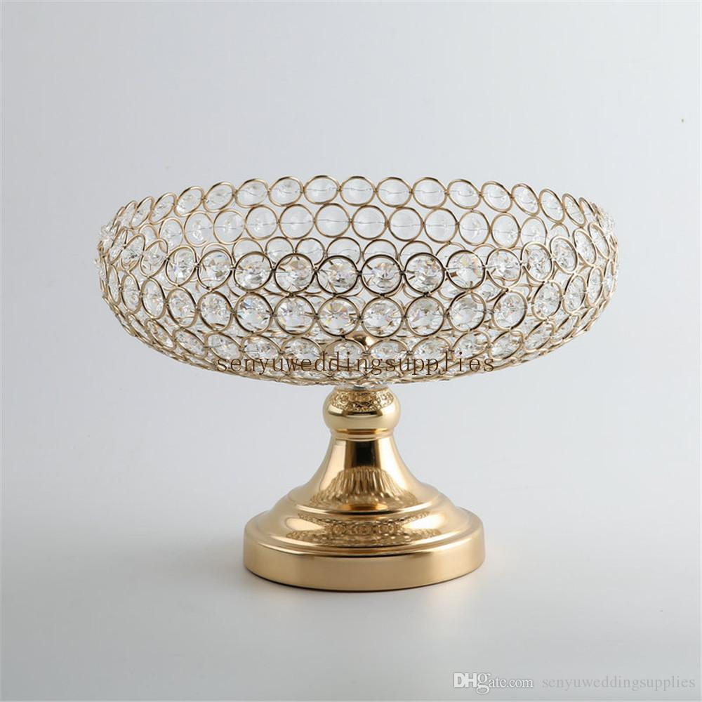 New style Beautiful crystal big flower bowl crystal aisle decor gold wedding floral stands for wedding table event party senyu0315