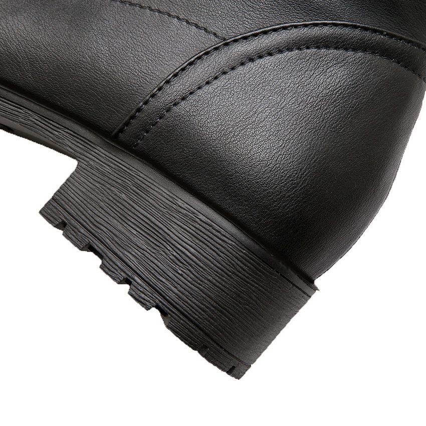 Großhandel Lady Jane Fashion PU Leder Overknee Stiefel Med Heels Round Toe Slip On Party Wear Kleid Stiefel Thick Heels Schwarz Von Gavingg, $52.17