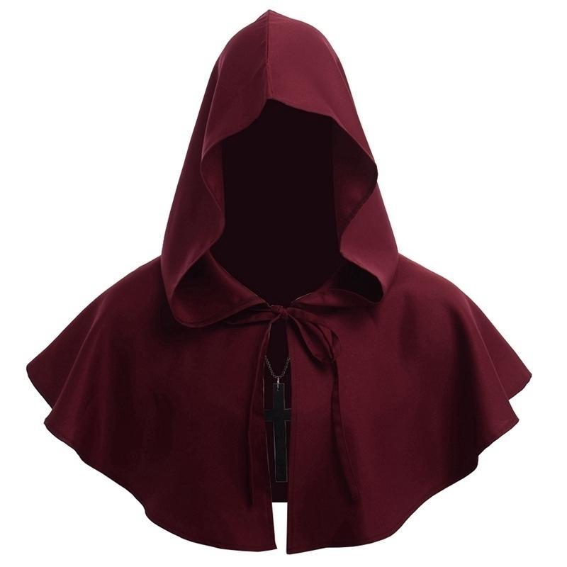 Männer Mittelalterliche Kostüm Renaissance Hood Polyester Capelet LARP Mantle HatMX190921