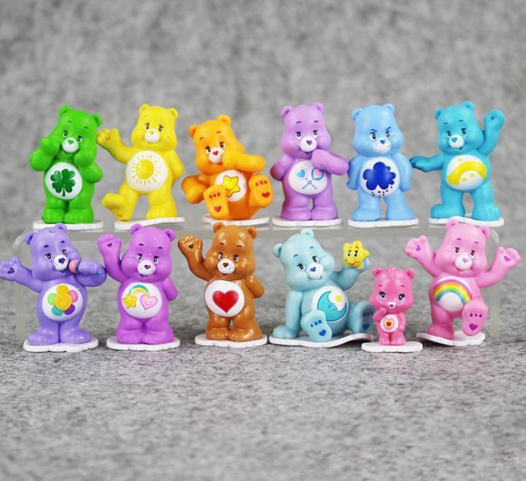 Rainbow Heart Bears Japanese Style Kids Toys Anime Mini Action figure Toy Children toys for boys girls Gift 12pcs/lot Wholesale