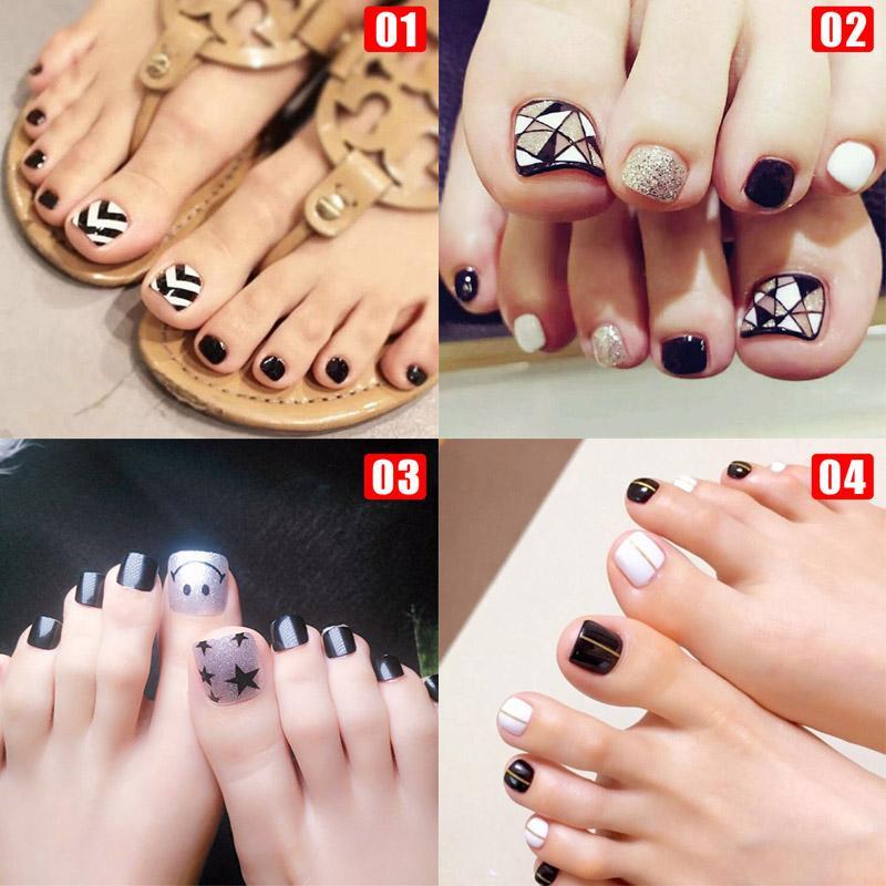 24Pcs/Set Fake Toe Nails Tips Square Type Top Finish Toenail Art Manicure Decor OR88