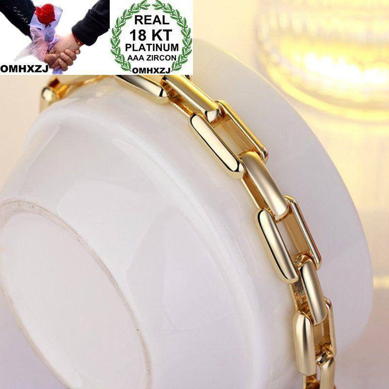 OMHXZJ Оптовая Личность Мода Человек Партия Подарок Золотой Квадрат Круги Цепи 18-каратного Золотого Браслета + Ожерелье Комплект Ювелирных Изделий SE36