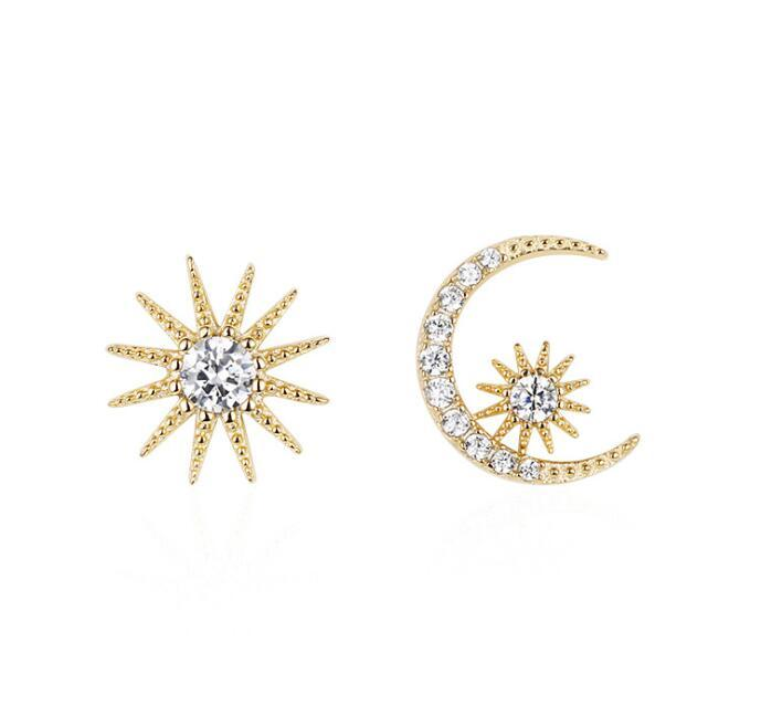 Fashion Star Mond Asymmetry Stud Designer-Ohrringe für Frauen Gold-S925 silbernen Nadel-Kristall-Diamant-Ohrring-Geschenk