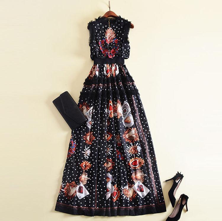 Eine Linie neue Art und Weise 2020 Designer Runway Maxi Schwarz-Frauen kleidet Sleeveless Blumen-Stickerei-Retro Punkt gedrucktes Patchwork Rüschen Lange