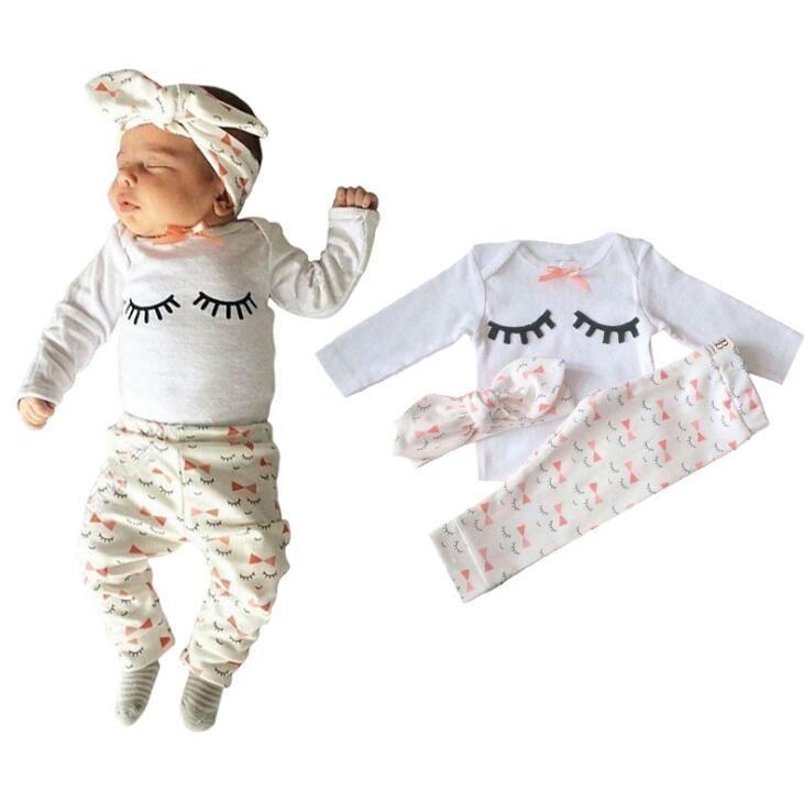 Bebek Giysileri Bebek Kız Set Bebek Giyim Kirpik Uzun Kollu Pamuklu Üstleri + Pantolon + Kafa Üç Adet Kızlar kıyafetler Sonbahar Kız Suits