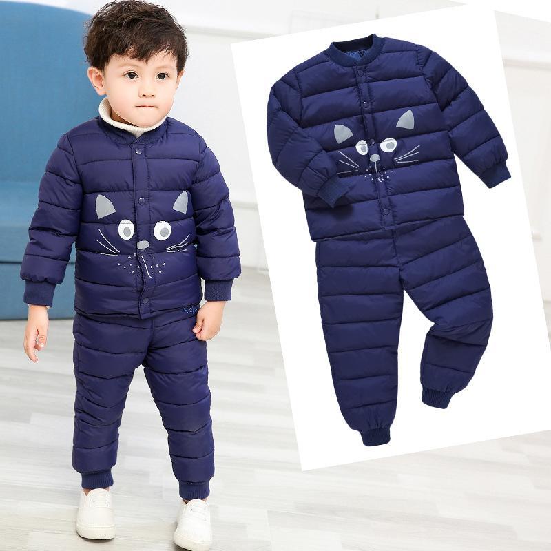 HYLKIDHUOSE de invierno bebés de los muchachos sistemas de la ropa de dibujos animados abrigos Pantalones de ropa para niños pequeños para niños Trajes para niños al aire libre de vestuario Y200325