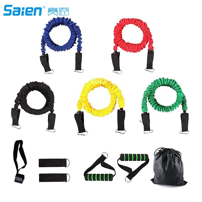 Widerstandsbänder, 11 Stück Trainingsgummibänder, 10 bis 30 Pfund, Widerstandsröhrchen mit Nylon-Schutzhüllen für hohe Beanspruchung