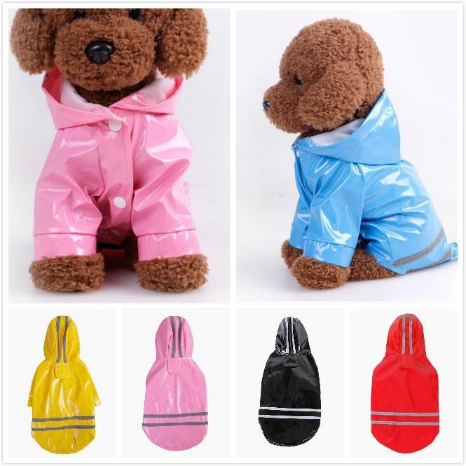 5 عباءة انعكاس اللون كلب PU مع قبعة الملابس للماء للشركات الصغيرة الكلاب تشيهواهوا يوركي الكلب معطف المطر المعطف جرو المطر سترة