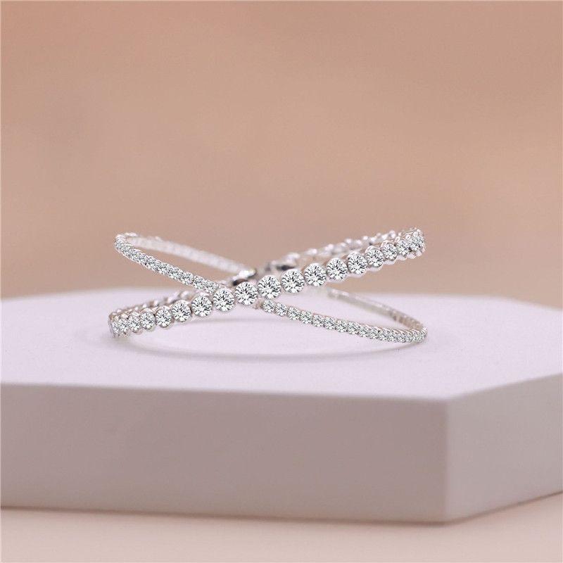 Luxury Crystal Bangles Gold Silver Rhinestone Cross Cuff bracelets for women Bracelets & Bangles Wedding Bridal Jewelry Girl