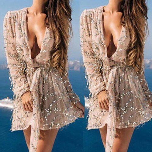 Женщины Блестки Bling Блестящий Bodycon Миди Платье Сплит Лето Вечернее Платье Партии