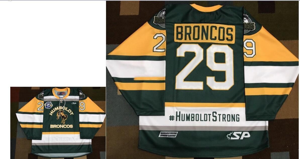 Real Men echter Voll Stickerei # 29 Humboldt Broncos GREEN Broncos #humboldtstrong Hockey Jersey oder benutzerdefinierte beliebige Namen oder Nummer HOCKEY Jersey