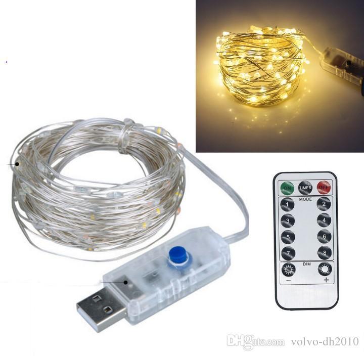 USB 5 V Bakır LED peri Dize Işıklar ile Uzaktan 5 m 10 m noel partisi düğün Açık Dekorasyon Peri Işık LLFA