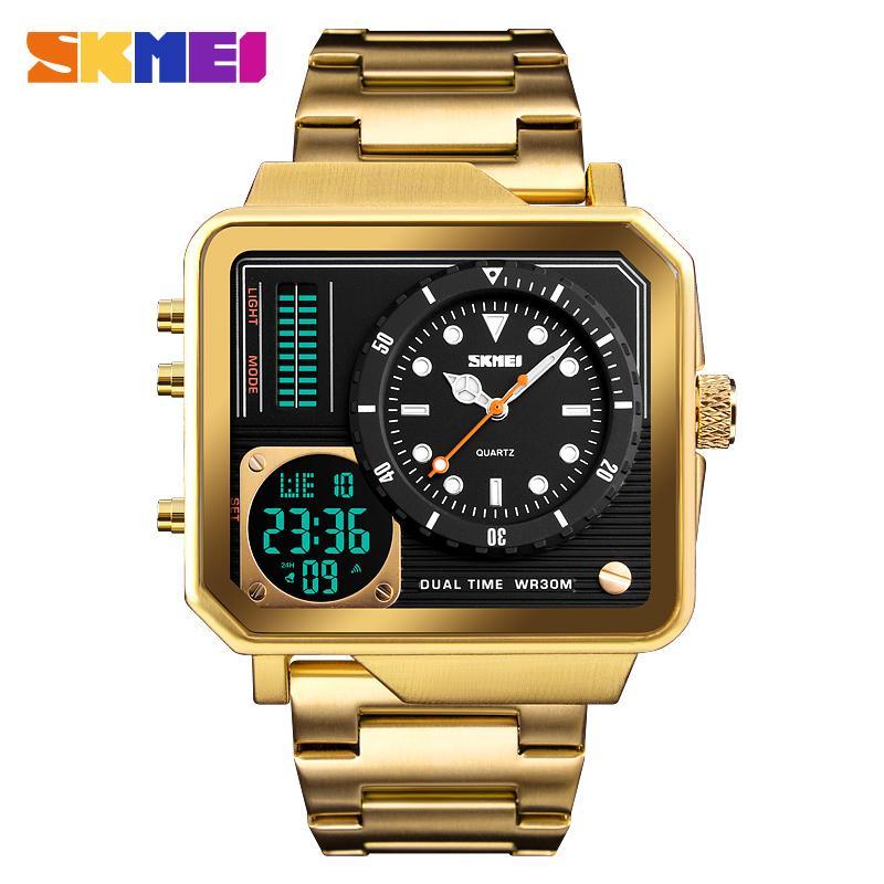 Top Montres de luxe Hommes SKMEI Marque Sport numérique Quartz Hommes Bracelet en acier inoxydable Mode imperméable Casual Male Horloge SH190929