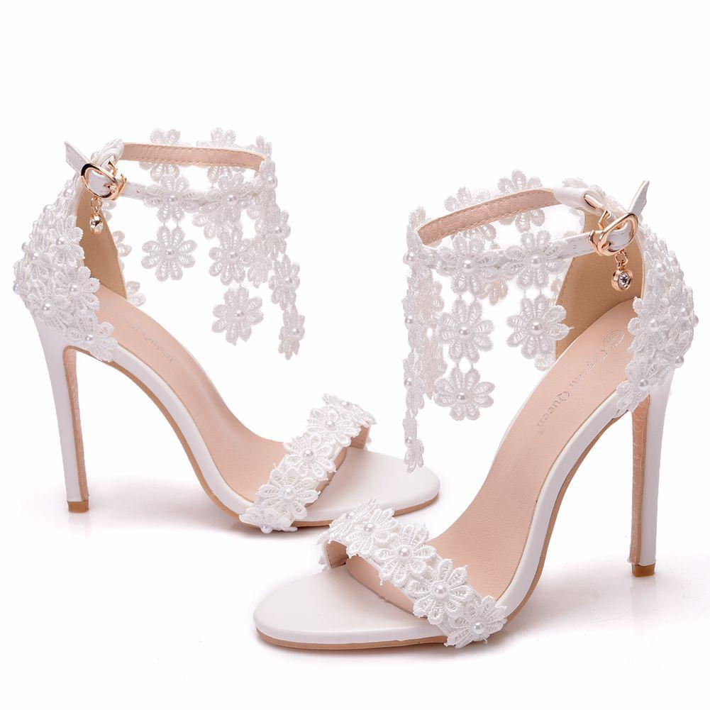 Lace high-heeled designer sandals fashion white open toe pearl tassel women wedding dress shoes size 35-41