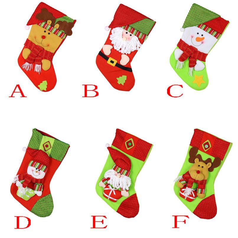 6 Çeşitleri Noel Hediyesi Çanta Noel Baba Kardan adam Elk Noel Dekorasyon Süsleme Çorap dekorları Toptan Ücretsiz Kargo 30RH17